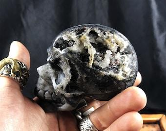 crâne de cristal en sphalérite entièrement réalisé artisanalement pièce unique 7/6,5/4cm 0,372kg