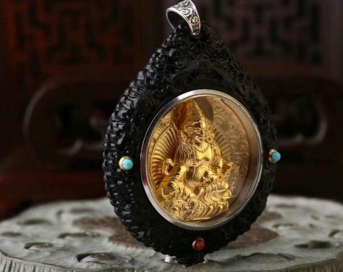 Reliquaire de protection bouddhiste Jambhala.Bois d'ébéne,argent plaqué or,turquoise d'Arizona, agate dite nan hong (rouge du sud) du Yunnan