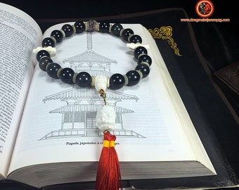 Belt mala. Ch'an and Zen Buddhist rosary. 18 beads in obsidian celeste eye. Buddha shakyamuni/ Acala. Dorje and bell.