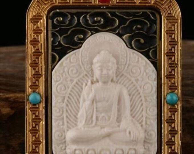 reliquary Tibetan Buddhist protection Buddha Amitabha, mammoth ivory, solid silver 925, turquoise bronze, agate called nan hong.