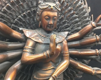 Buddhist statue bronze and copper bodhisattva Avalokitesvara Guan Yin, thousand arms version