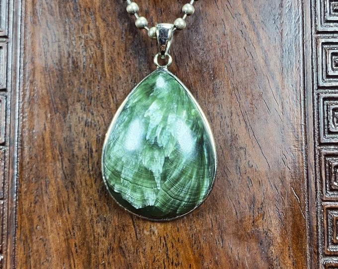 Seraphinite. Seraphinite pendant. seraphinite, clinochlor. Natural seraphinite. Eastern Siberia. Seraphinite set in silver 925