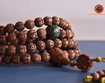 Exceptional and rare mala, Buddhist rosary, 108 laoshan sandalwood beads. Chenrezi, mantra of compassion carved on each pearl