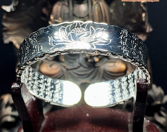 Buddhist silver rush bracelet 999 (punched Ag999) extracted from lotus sutra, sutra of the heart engraved inside