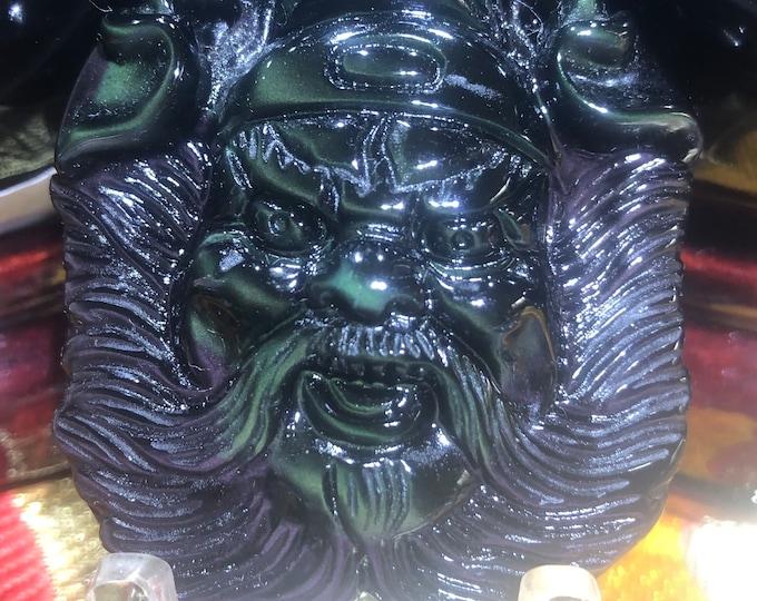 pendentif Exorciste Taoïste Zhong Kui. amulette de protection Taoïste Obsidienne oeil celeste qualité A+
