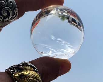 Sphere, crystal ball. Rock Crystal of Brazil, excellent quality. Beautiful frosts in inclusions. Natural rock crystal. 0.145kg
