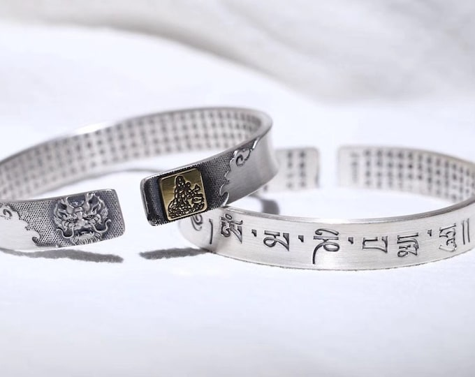 Bracelet rush, Buddhist protection of the 12 zodiac signs and Buddha of birth protection. silver 999. heart sutra and mantra
