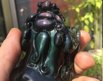 feng shui statuette. Pixiu obsidian celeste eye.
