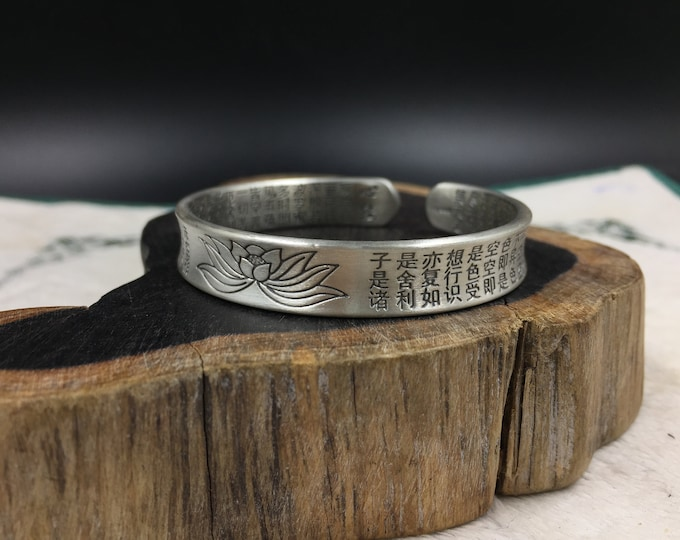 Buddhist Bangle in silver 999 Lotus Sutra, Sutra of heart engraved inside