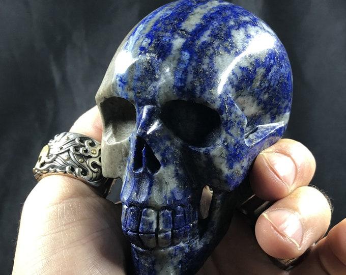 Lapis lazuli crystal skull entirely handmade single piece 9/7/4cm 0.588kg