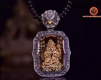 pendentif amulette de protection bouddhiste Bouddha Samantabhadra mala de prière et méditation 108 perles, argent 925 or 18K bélière Garuda