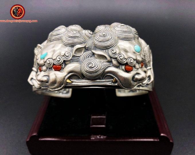 """Tang Shi"" silver 950 guardians jonc bracelet, Arizona turquoise agate called ""nan hong"" (southern red) of Yunnan"
