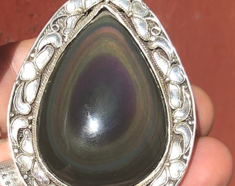 traditional pendant, Pekinoise jewelry. obsidian celeste eye. Silver Double-Sided Pendant 925