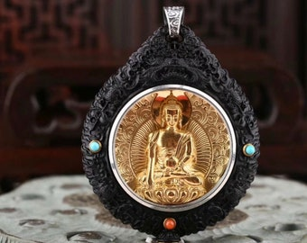 Reliquary protection Buddha medicine. Ebene wood, gold-plated silver, Arizona turquoise, agate called nan hong (south red) of Yunnan