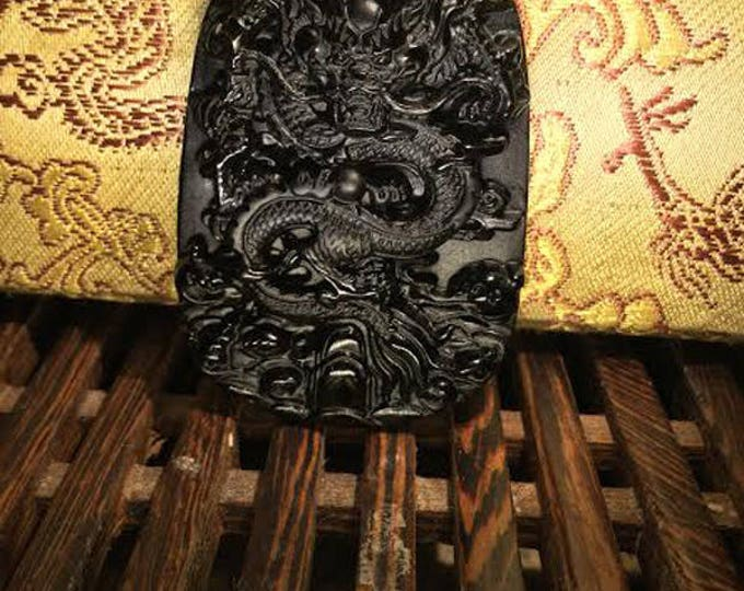 pendentif dragon en obsidienne noire (protection)