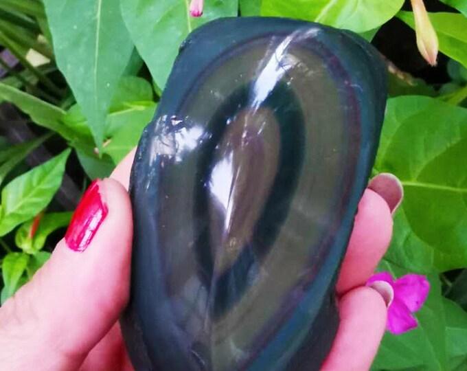 free form in obsidian celeste eye. Semi raw. 81/42/46 mm 0.237 kg.