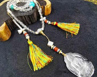 Mala, Buddhist rosary 108 rock crystal beads. Representation of Buddha medicine in rock crystal. Amazonite, silver 925