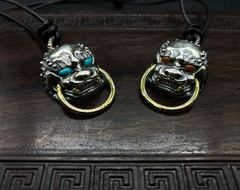 tangshi lion pendant, silver 925 turquoise copper from Arizona and agate nan hong