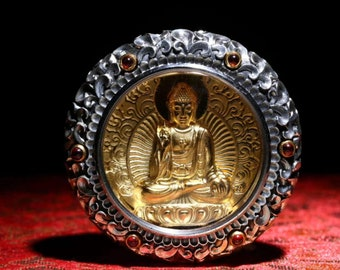 Protection amulet Buddhist Tibetan Vairocana, 925 sterling silver, Garnet, silver plated 18K, mantra of compassion on the back