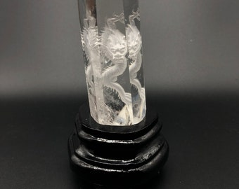 Feng Shui sculpture. natural rock crystal. Dragon carved in intaille.