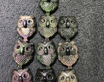 owl pendant in obsidian eye celeste. Quality A
