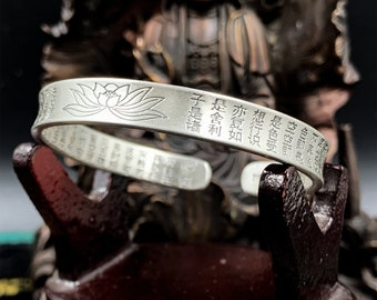 999 silver Buddhist rush bracelet (punched Ag999) lotus sutra, sutra of the heart engraved inside