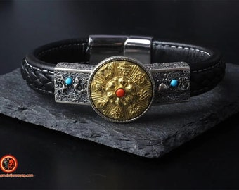 Buddhist protective bracelet, 8 auspidy signs of Buddhism. Feng shui. Silver 925,copper, braided leather, turquoise agate nan hong