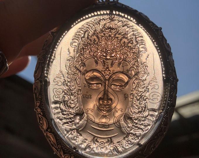 traditional pendant, Pekinoise jewelry. obsidian ice. Representation of Guan Yin, boddhisattva of compassion, Silver 925