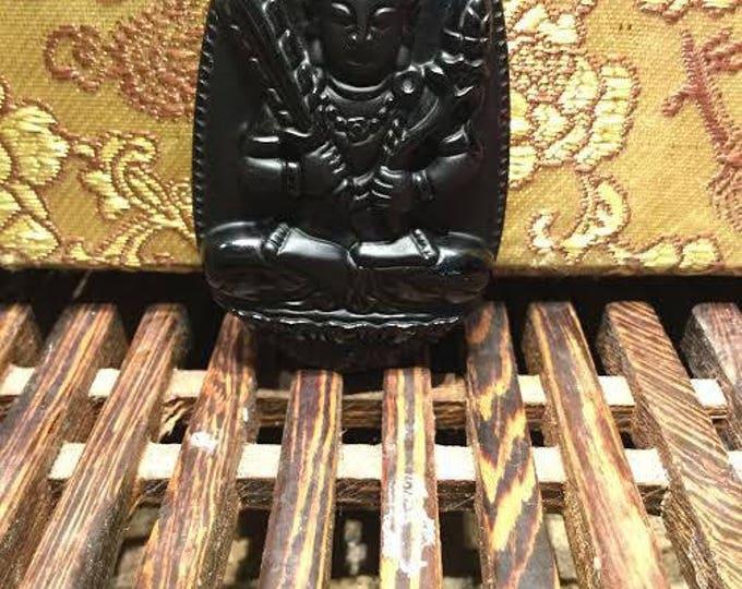 Black Obsidian Akasagarbha protection amulet