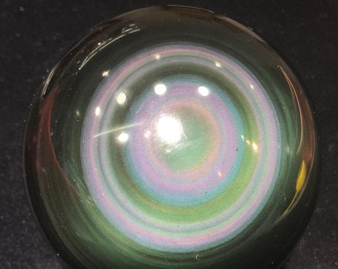 Sphere in obsidian eye celeste of a quality. 1,750kg