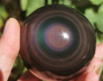Exceptional sphere in obsidian eye celeste quality A. 0.320 kg 63 mm in diameter