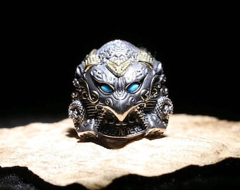 Buddhist ring in silver 925, bronze and turquoise Garuda