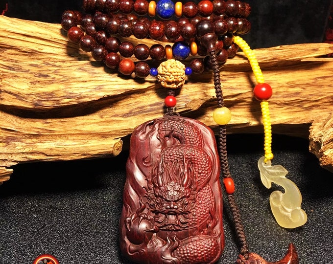 mala, Buddhist rosary, 108 pearls and dragon pendant in red sandalwood, jade, lapis lazuli, cinabre