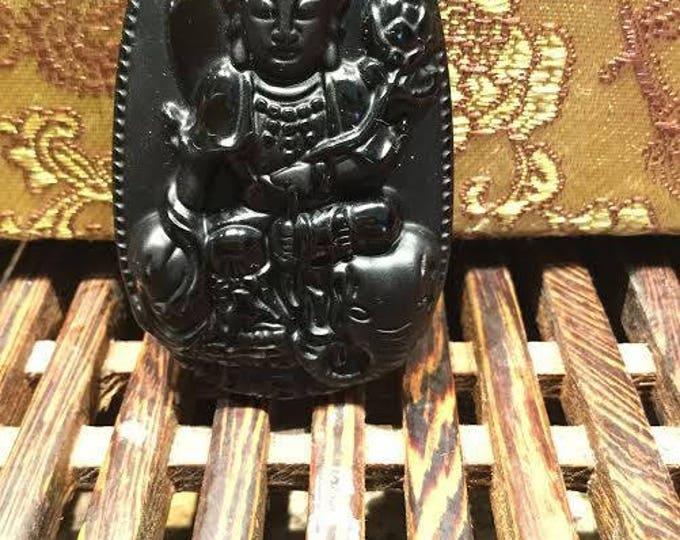 amulette de protection du bouddha Samantabhadra en obsidienne noire