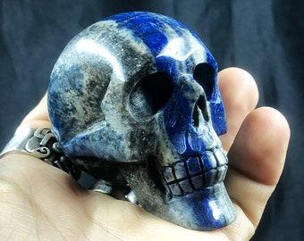 Lapis lazuli crystal skull entirely handmade single piece 6/6/3.5cm 0.250kg
