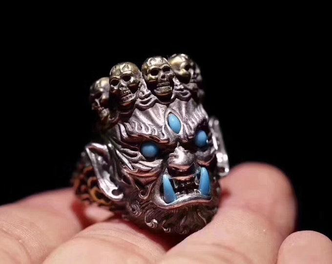 Ring protection Buddhism vajrayana. Mahakala. Silver 925, copper, Turquoise Arizona, agate called nan hong of Yunnan.