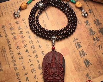 mala, Buddhist rosary 108 red sandalwood beads. Chenrezi/ Guan yin thousand arms. Turquoise, bone, silver 925, white sandalwood
