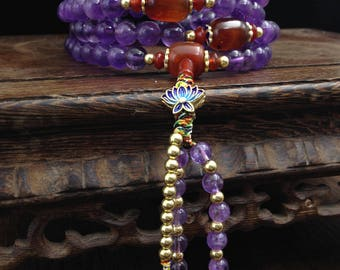 mala amethyst, cornaline, silver 925 plated gold 18karats partitioned