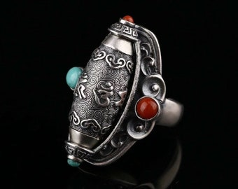 Tibetan Buddhist ring. Prayer mill mantra of compassion. Silver 925, turquoise and nan hong