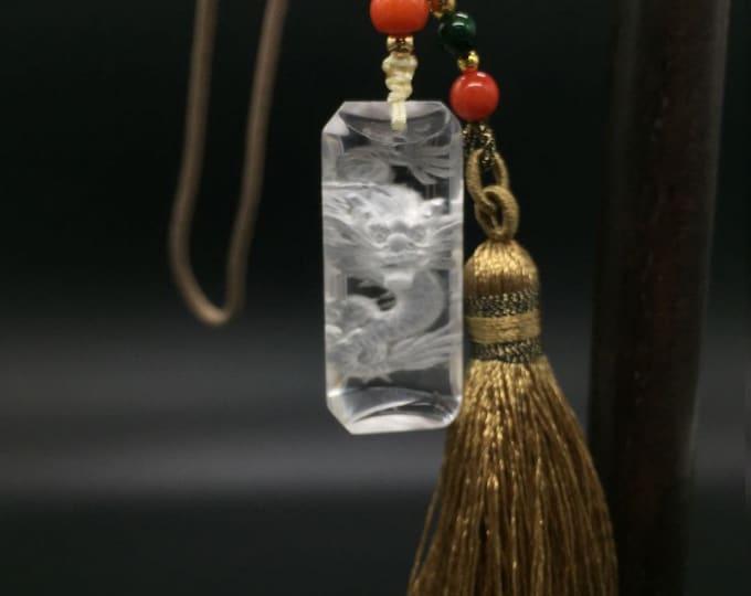 Pendant feng shui dragon imperial quality rock crystal gemstone.