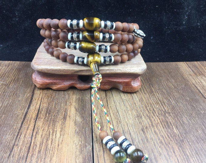 mala, Buddhist rosary, white sandalwood, tiger eye, silver 925, yak bone and buffalo horn