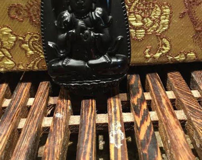 Vairocana Buddha protection amulet in black obsidian