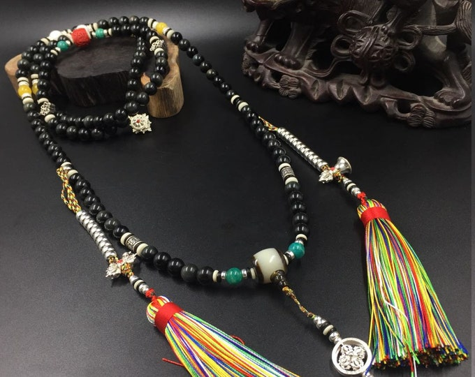 mala, Buddhist rosary, 108 obsidian celeste eye (10mm), royal amber, cinabre, silver 925, amazonite, blessed mother-of-pearl.