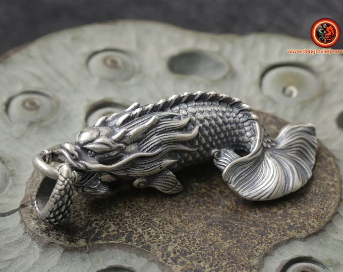 Dragon pendant, Aoyu. 925 punched silver pendant. protection, Feng Shui. Dimensions: 5.8cm long by 2cm wide.