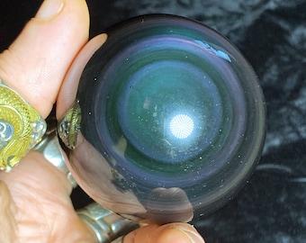 obsidian eye celeste sphere of quality A. 0.329 kg 6.40 cm in diameter