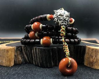 mala Pixiu son of the dragon, Buddhist rosary. 108 high quality red sandalwood beads, silver 925, turquoise, ruby, Nan Hong