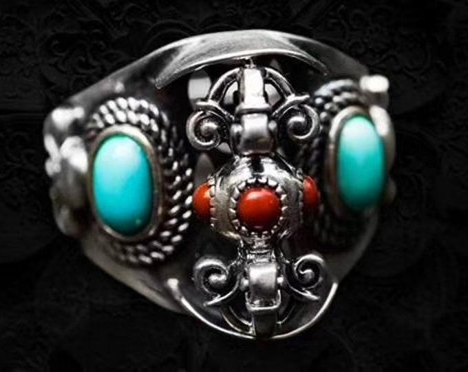 ring Silver 925 double dorje called nan hong agate Tibetan Buddhist and Arizona turquoise