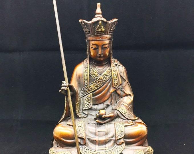 Buddhist statuette bronze and copper bodhisattva Kshitigarbha /Dizang Pusa