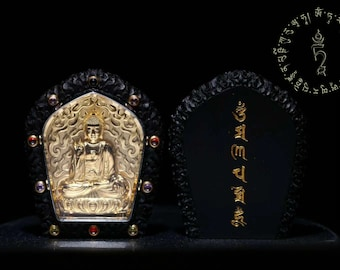 Vairocana Tibetan protection amulet, wood ebony, Silver 925 plated 18K gold, set gems