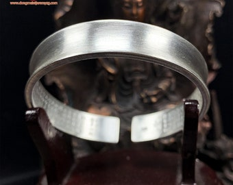 Buddhist bracelet in silver 999 , sutra of the heart engraved inside